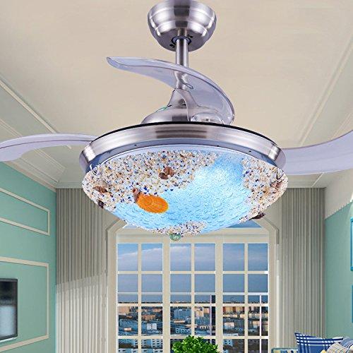 Guscio invisibile ventilatore da soffitto luce stanza dei bambini ristorante in stile mediterraneo luce ventilatore camera da letto con ventilatore a soffitto luce ventola di diametro di lente 40cm di diametro 91cm-40cm, telecomando