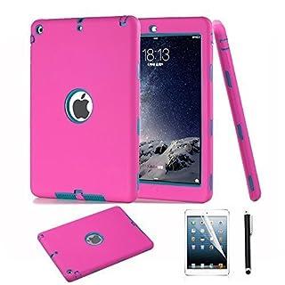 arlent iPad Air Fall, iPad 5Schutzhülle, 3in1Hybrid stoßfest Case Cover mit Stylus und Displayschutzfolie, (CS Rose blau)