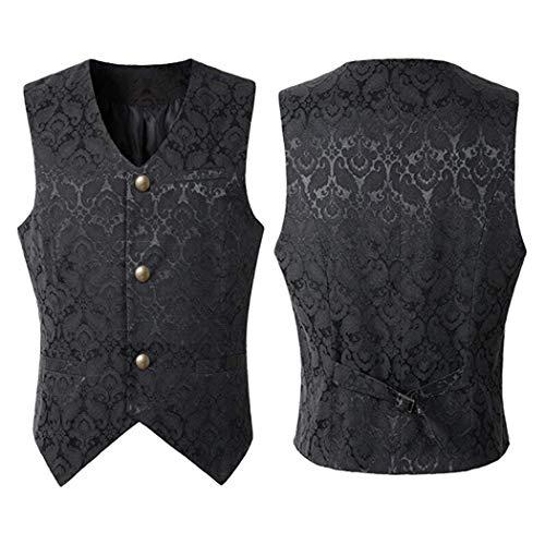 ZOYLINK Chaleco de los hombres Vestido victoriano punk jacquard...