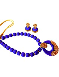 Youth Royal Blue Silk Thread Necklace With Grand Pendant And Earrings With Grand Pendant And Earrings