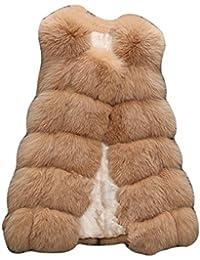 LaoZan Cappotto di Pelliccia in Finto per Donna Nuova Collezione Inverno -  Camel Chiaro - Small a510d9bb832