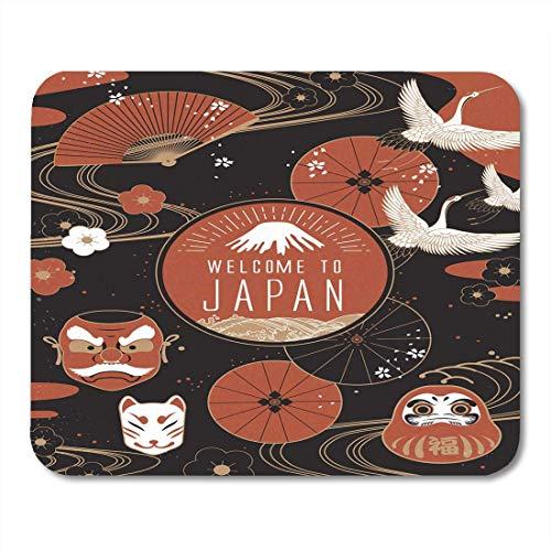 Elegante Japan (Luancrop Mausunterlage rotes Japanisches Elegantes Japan-Reise-traditionelles kulturelles Symbol Daruma Mousepad für Notizbücher, Tischrechner-Mausunterlagen, Bürozubehöre)