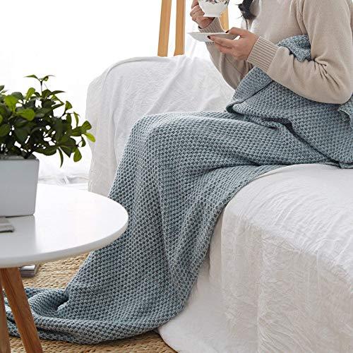 XILIUHU Handarbeit Häkeln Mermaid Decke Handgefertigt aus Gewirken schlafen Wickeln atmungsaktiv gestrick Sofa Mermaid Schwanz Decke Bettwäsche Plaids Tasche, Blue Ash, M (140 X 70 cm) Ash Fleece