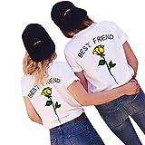 BA Zha Hei New Mode Frauen Beste Freund Buchstaben Rose Gedruckt T Shirts Best Friends Sister Damen T-Shirt Aufdruck Mädchen Sommer Oberteile Top Mode Sehr Angenehm zu Tragen BluseTops