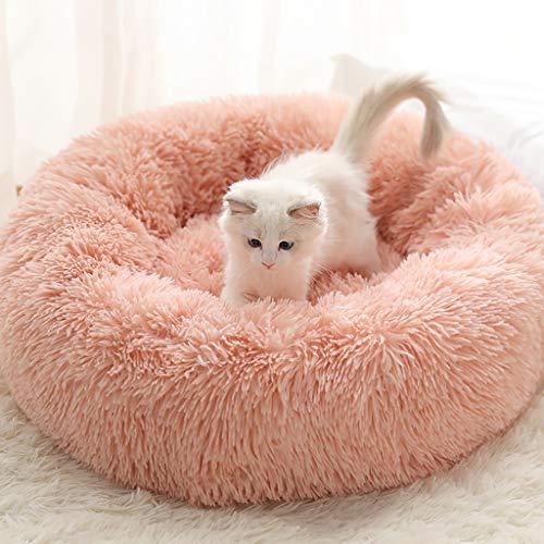 Haustier-Bett Beruhigende Round Nest Warmer weicher Plüsch Bequemt Donut Katzen-Bett-Kissen-Runde Nest Schlafsack Weich (Color : Pink, Size : 40cm)