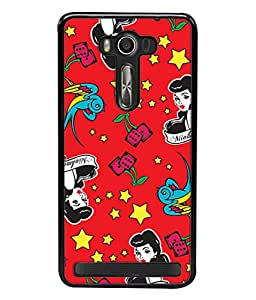 PrintVisa Designer Back Case Cover for Asus Zenfone 2 Laser ZE500KL (5 Inches) (Grey Strip Crazy Owl Pink Strip Designer Case Black Thick Line Cell Cover Simple Love Smartphone Cover Pink Lovers Good looking Girly )
