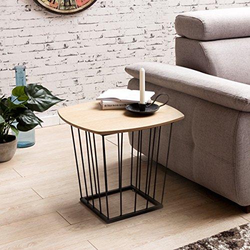 Table d'appoint SKANDI Retro Design MDF Bois de chêne 50x45x50cm | Table Basse avec Cadre métallique | Table sur Le Plateau Table Plate