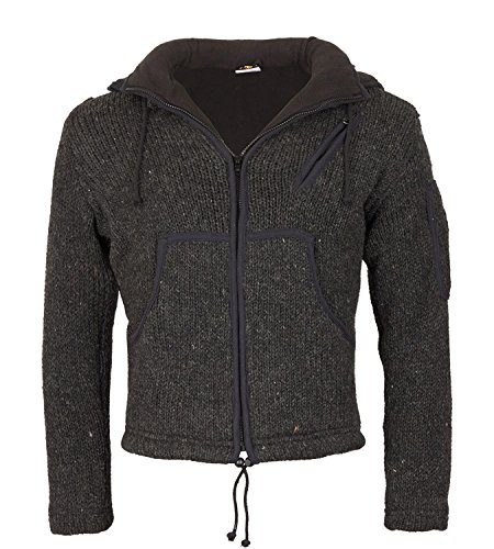 Herren Strickjacke Wolle Jacke mit Fleecefutter und abnehmbarer langer Zipfelkapuze Schwarz