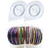 Cinta de uñas 30 colores Striping Línea de cinta Pegatinas de uñas con 2 dispensadores