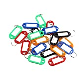 PetHot 20pcs Key Tags Plastic Assorted Luggage with Labels Key Rings for ID Name Fob Coloured Random Colour