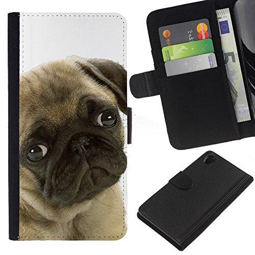 Sindrome depressiva stagionale, motivo: cane carlino con occhi per cani e animali domestici, con fessure per carte di credito e supporto a portafoglio in pelle PU, Cover protettiva per Sony Xperia Z2 D6502