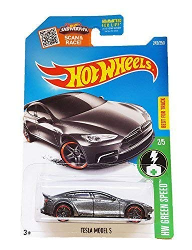Hot Wheels, 2016 HW Green Speed, Tesla Model S [Dark Gray] #242/250 by Hot Wheels