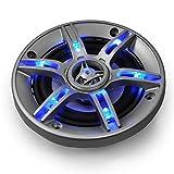 auna CS-LED4 Altavoces HiFi para coche • Coaxiales de 3 vías • Potencia: 500W • 2 x 10 cm • Tweeter neodimio • Bobina ASV • Efecto LED azul • Presión sonora: 90 dB • Frecuencia: 90-20000 Hz • Plateado