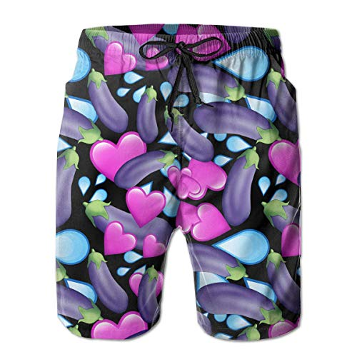 Nacasu Men's Swim Trunks Love Eggplant Casual Sportswear Quick Dry Beach Shorts for Boys Summer XL
