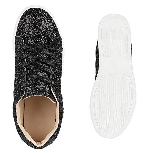 Basic Glitzer Damen Sneakers Schuhe Sportschuhe Schwarz Schnürer Lederoptik qwzwp5R