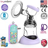 Trumom Lavender Rechargeable Electric Breast Milk Feeding Pump with Manual Convertor Kit and Temperature Indicator Ring
