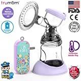 Trumom Lavender Rechargeable Electric Breast Milk Feeding Pump with Manual Convertor Kit