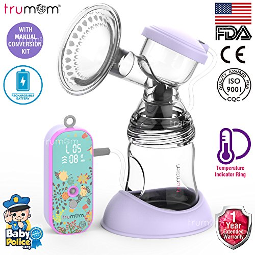 Trumom Lavender Rechargeable Electric Breast Milk Feeding Pump with Manual Convertor Kit & Temperature Indicator Ring