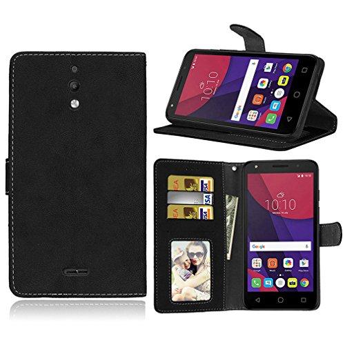 LMAZWUFULM Hülle für Alcatel Pixi 4 8050D (6,0 Zoll) 3G PU Leder Magnet Brieftasche Lederhülle Retro Gefrostet Design Stent-Funktion Ledertasche Flip Cover Schwarz