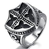 Adisaer Ring Silber Jugendstil Ring Männer Rocker Punk Schwarz Silber Schild mit Kreuz Ring Größe 62 (19.7) Gothic Bandring Weihnachten Ringe Für Freund