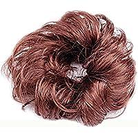 sourcingmap® Da donna, capelli sintetici, piega riccia, parrucca e parrucca con chignon, colore: marrone
