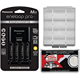 Panasonic Eneloop Pro (4) AA 2550mAh Pre-Charged NiMH Rechargeable Batteries & Charger + Battery Case Kit
