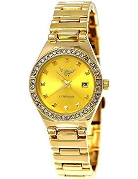 Kleine Elegante Ny London Damen-Uhr Strass Analog Quarz Armband-Uhr in Gelb Gold mit Datumsanzeige