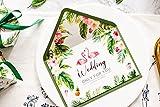 Better-way 50Tropical Hochzeit Einladungen, mit Spitze und Flamingo Hand Malerei, Einladungen Karte mit Band für Hochzeit Baby Dusche Verlobung Geburtstag Party
