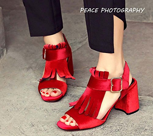 L&Y Pompa di punta di punta Stivaletto in pelle scamosciata con cinturino Sandali con tacco alto Slingback per le donne Rosso