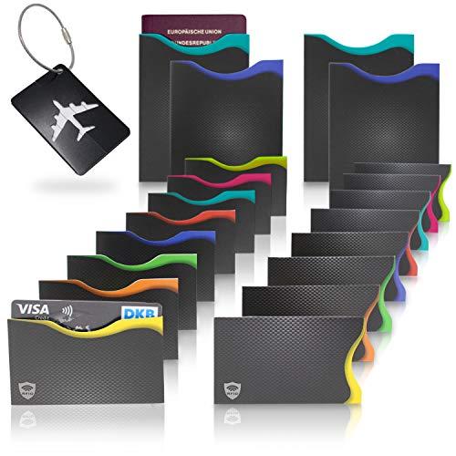 Amazy RFID & NFC Schutzhüllen (20 Stück) inkl. Kofferanhänger - TÜV-geprüft - 100% Schutz vor Identitäts- und Datendiebstahl - Extra-robuste Hüllen für Kreditkarten, EC-Karten, Ausweise und Reisepass -