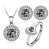 AnazoZ Schmuckset Bunt Damen, Ohrringe Ring Halskette mit Anhänger, Kristallanhänger Zirkonia für Frau Hochzeitsschmuck Gr. 52 (16.6)