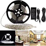 Led Strip Light Kit Waterproof IP65 DC12V Led Light Strip SMD2835 600 Leds 16.4 Ft (5 Meters) Led Tape Lighting Cool White Led Rope Lights With 12V 5A Power Supply Adapter Led Ribbon DIY Decoration