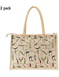 MasterStor Pack Of 2 Multipurpose Yoga Print Jute Bag Everyday Use And Easy To Clean Shopping Bag