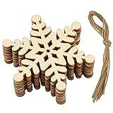 FEPITO 10 Stücke Schneeflocke Dekorationen Christbaumschmuck Holz Baum Dekorationen Handwerk Weihnachten Verzierungen Weihnachten Bastelbedarf (Schneeflocke A) (Snowflake A)