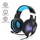 PC & PS4 gaming headset, Marsboy gaming headphones with microphone LED effect for PS4/PC, film, game play, chat, music, best Christmas gift idea, blue.