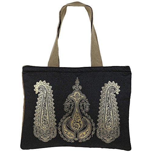 Shimmer Naturfaser Jute-Einkaufstasche mit Gold Paisleys Grafik mit gestepptem gepolstertes Innenfutter (Kors Michael Paisley)