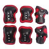 erinfam bambini protezione kit sport Protezioni Ginocchio gomito polso Skate Skateboard, rosso e nero