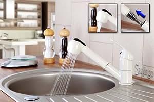 Creme blanc robinet mitigeur de cuisine douchette extensible sanlingo