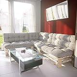 MSS® Palettenkissen 7er Set Palettenpolster Extra Dick Sitzkissen + Rückenkissen + Seitenkissen Euro Palettenauflage Gartenlounge in Grau Struktur