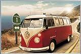 1art1 Autos Poster und Kunststoff-Rahmen - VW Bus, Bulli, Kalifornien, Route One (91 x 61cm)