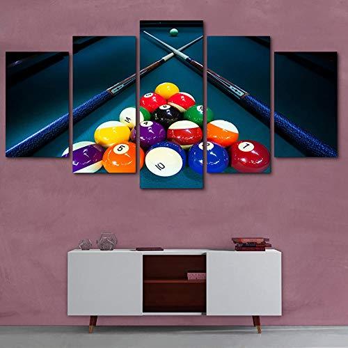 Poster Wohnkultur HD Gedruckt Moderne Leinwand Wohnzimmer 5 Panel Sport Farbe Billard Rahmen Bilder Malerei Wandkunst Modulare-Ohne rahmen