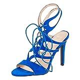 W.S Shoes Damen Sandaletten Pumps High Heels Stiletto Party Schuhe in Vielen Farben M357bl Blau 38
