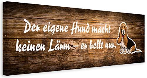 Feeby Leinwandbilder Hund Bilder Kunstdruck Dackel Zitat Haustier Braun 120x40 cm