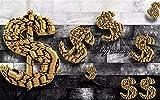 ADDFLOWER Foto personalizzata 3D Carta da parati 3D Moneta d'oro Astratto Spazio creativo Soggiorno Decorazioni per la casa Soggiorno Rivestimento murale, 200X140 Cm (78,7 Per 55,1 In)