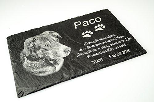 Schiefer Gedenktafel Gedenkstein mit Gravur / Fotogravur + 1 Motiv ca. 30x20 cm für Haustiere: Hund Katze Pferd mit Foto schönes Andenken an die Liebsten - kein Druck! Grabschmuck / (Hund Grabsteine)