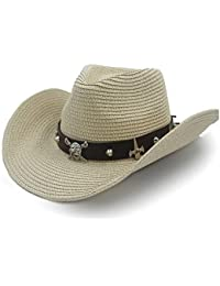 a81810fbf2 GBY Sombrero de Paja Sombrero para el Sol Sombrero de Rafia Sombrero de  Vaquero Transpirable Cinturón de Cuero de los Hombres Ocasionales…