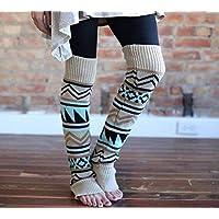FERFERFERWON Calcetines de Confort Camuflaje de otoño e Invierno Engrosamiento Bohemio Calcetines de Lana Pila Pila Conjunto Damas Color a Juego Botas Leggings Conjunto (Color: Beige)
