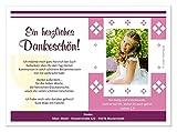 Danksagungskarten zur Kommunion Mädchen - mit Foto (auf Wunsch ohne) und Text ändern, Menge 80, Format 17 x 12 cm