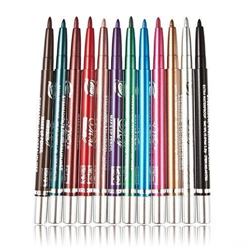 G2PLUS 12 Colors Eyeliner Waterproof Lip Liner Eye Shadows Eyebrow Pencils Cosmetic Pen Coloring Set Makeup Kit