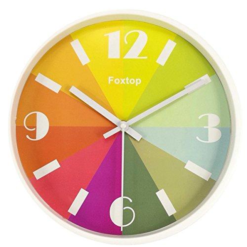 Wanduhr ohne Ticken, Foxtop Kinderwanduhr (Ø) 26 cm Kinder Wanduhr mit lautlosem Uhrenwerk und Farbenfrohem Design - Weiß